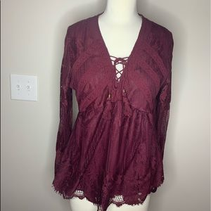 Dressy Maroon Lacey Top